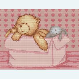Teddy Pink - borduurpakket met telpatroon Luca-S  |  | Artikelnummer: luca-b131