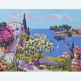 Panorama - bundel van geschilderd stramien + borduurwol, te borduren in halve kruissteek |  | Artikelnummer: rp-142-281-bundel