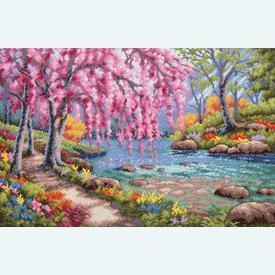Cherry Blossom Creek - borduurpakket met telpatroon Dimensions |  | Artikelnummer: dim-70-35374
