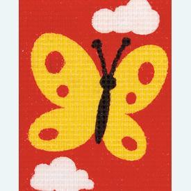 Butterfly - halve kruissteekpakket Vervaco | Handwerkpakket voor kinderen, te borduren op geschilderd stramien, in halve kruissteek  | Artikelnummer: vvc-9581