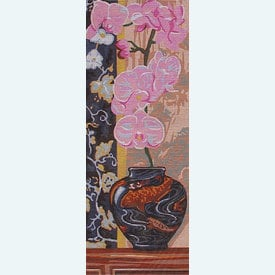 Orchid - bundel van geschilderd stramien + borduurwol, te borduren in halve kruissteek |  | Artikelnummer: rp-137-114-bundel
