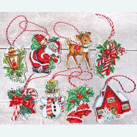 Christmas Toys - borduurpakketjes met telpatroon Letistitch | set van 8 stuks | Artikelnummer: leti-966