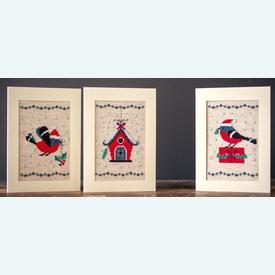 Wenskaarten Christmas Bird and House - borduurpakketten met telpatroon Vervaco |  | Artikelnummer: vvc-165028