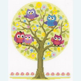 Little Owls Tree - borduurpakket met telpatroon Vervaco |  | Artikelnummer: vvc-146618