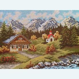 Mountain Landscape - bundel van geschilderd stramien + borduurwol, te borduren in halve kruissteek |  | Artikelnummer: vvc-6080