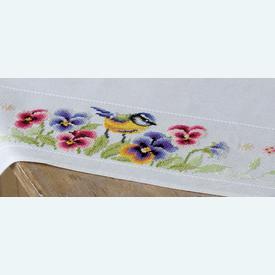 Bird and Violets theenap - kruissteekpakket met telpatroon Vervaco |  | Artikelnummer: vvc-164232