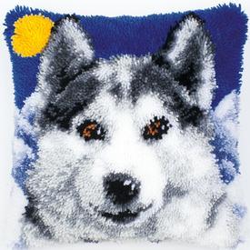 Husky - knoopkussen Vervaco | Smyrna kussen met Husky | Artikelnummer: vvc-2560-3518