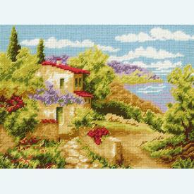 Tuscany - bundel van geschilderd stramien + borduurwol, te borduren in halve kruissteek |  | Artikelnummer: vvc-6130