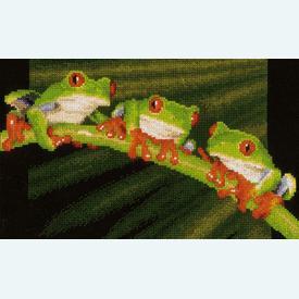 Red-Eyed Tree Frogs - kruissteekpakket met telpatroon Vervaco |  | Artikelnummer: vvc-146866