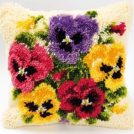Violets - smyrna kussen Vervaco | Knoopkussen met violetten | Artikelnummer: vvc-2560-3605
