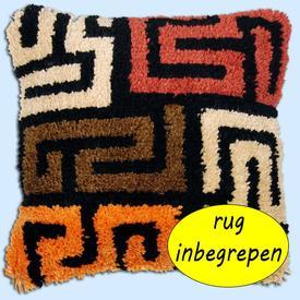 Kuba Cloth Pattern - knoopkussen MET RUG - Vervaco  | Smyrna kussen met doolhof motief | Artikelnummer: vvc-175306