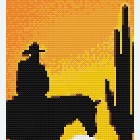 Cowboy in the Sunset 1 - borduurpakket met telpatroon Nafra |  | Artikelnummer: nf-nafra21012