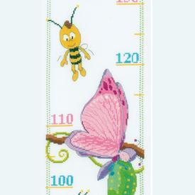 Growing Chart: Maya, Willy, Lara and Beatrice - borduurpakket met telpatroon Vervaco   Groeimeter Maya de Bij   Artikelnummer: vvc-155688