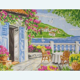 Garden Coast Scene - bundel van geschilderd stramien + borduurwol, te borduren in halve kruissteek |  | Artikelnummer: rp-132-211-bundel