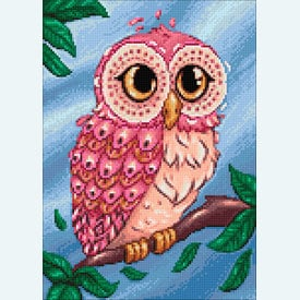Colourful Owl - Diamond Painting pakket - Wizardi | Pakket met vierkante diamantjes | Artikelnummer: wiz-wd2491