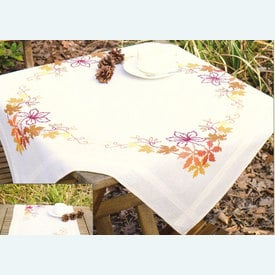 Autumn Leaves theenap - voorgedrukt borduurpakket - Vervaco      Artikelnummer: vvc-145239T