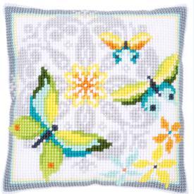 Butterflies and Flowers - Vervaco Kruissteekkussen |  | Artikelnummer: vvc-163898