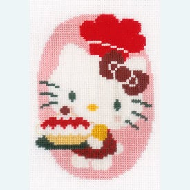 Set van 3 - Hello Kitty - At the Bakery - borduurpakketten met telpatroon Vervaco  |  | Artikelnummer: vvc-154976