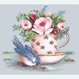 Bird in Tea Cup - kruissteekpakket met telpatroon Luca-S |  | Artikelnummer: luca-ba2324