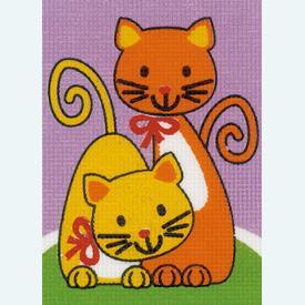 Playing Cats - halve kruissteekpakket Vervaco | Handwerkpakket voor kinderen, te borduren op geschilderd stramien, in halve kruissteek  | Artikelnummer: vvc-155678