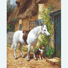 By the Cottage - borduurpakket met telpatroon Luca-S      Artikelnummer: luca-b572