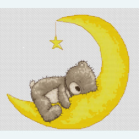 Teddy Bruno - Sleepy Sleepy - borduurpakket met telpatroon Luca-S |  | Artikelnummer: luca-b1096