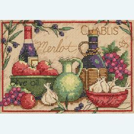 Mediterranean Flavors - borduurpakket met telpatroon Dimensions |  | Artikelnummer: dim-65061
