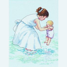 Ocean Visit - borduurpakket met telpatroon Janlynn | Moeder en kind aan zee | Artikelnummer: jl-029.0058