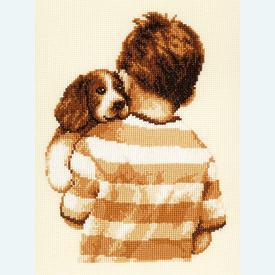 Puppy Cuddle Time - borduurpakket met telpatroon Vervaco |  | Artikelnummer: vvc-75034
