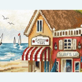 Shops by the Sea - borduurpakket met telpatroon Letistitch |  | Artikelnummer: leti-905