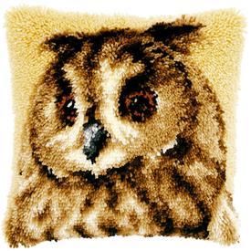 Brown Owl - knoopkussen Vervaco | Smyrna kussen met uil | Artikelnummer: vvc-21650