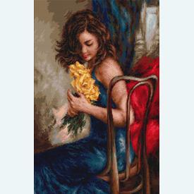 Woman with Yellow Roses - kruissteekpakket met telpatroon Luca-S |  | Artikelnummer: luca-b532