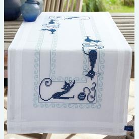 Cheerful Cats loper - voorgedrukt borduurpakket - Vervaco |  | Artikelnummer: vvc-153899