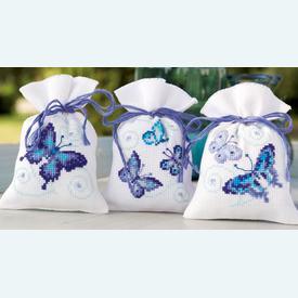 Assortiment kruidenzakjes - Blue Butterflies - Handwerkpakketjes met telpatroon Vervaco |  | Artikelnummer: vvc-146430