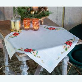 Christmas Flowers theenap - kruissteekpakket met telpatroon Vervaco |  | Artikelnummer: vvc-157190