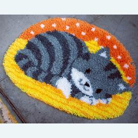 Little Cat - gevormd knooptapijt Vervaco | Smyrna tapijt met schattig poesje | Artikelnummer: vvc-150158