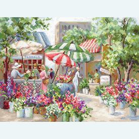 Flower Market - borduurpakket met telpatroon Letistitch |  | Artikelnummer: leti-978