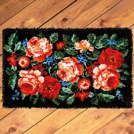 Roses - knooptapijt Vervaco | Smyrna tapijt met klassieke rozen | Artikelnummer: vvc-184507