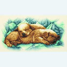 Peaceful Puppies - borduurpakket met telpatroon Dimensions |  | Artikelnummer: dim-35215