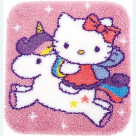 Hello Kitty and Unicorn - knooptapijt Vervaco | Smyrna tapijt met Hello Kitty en eenhoorn | Artikelnummer: vvc-153316