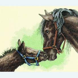Mother and Colt - borduurpakket met telpatroon Dimensions |  | Artikelnummer: dim-13722