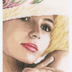 Lady with Hat - borduurpakket met telpatroon Lanarte |  | Artikelnummer: ln-168602