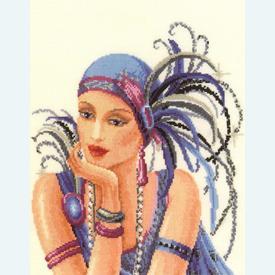 Violet Lady - kruissteekpakket met telpatroon Vervaco - kaaslinnen |  | Artikelnummer: vvc-29035