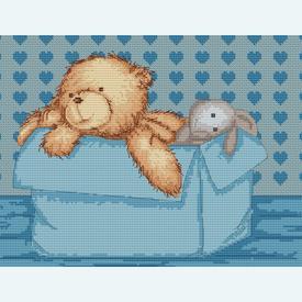 Teddy Blue - borduurpakket met telpatroon Luca-S  | Gratis onder voorwaarden  | Artikelnummer: luca-b130-0-130