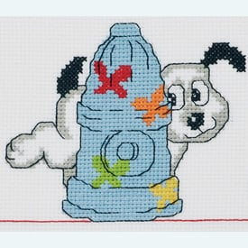 Dog and Fireplug -  borduurpakket met telpatroon - Permin |  | Artikelnummer: pm-92-3389