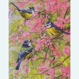 Blue Chickadees - bundel van geschilderd stramien + borduurwol, te borduren in halve kruissteek |  | Artikelnummer: rp-132-167-bundel