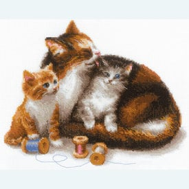 Cat with Kittens -  borduurpakket met telpatroon Riolis |  | Artikelnummer: rio-1811