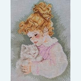 Katzenliebe - bundel van geschilderd stramien + borduurwol, te borduren in halve kruissteek |  | Artikelnummer: rc-57030-bundel