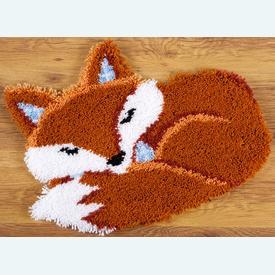 Sleeping Fox - knooptapijt Vervaco | Smyrna tapijt met slapend vosje | Artikelnummer: vvc-150485