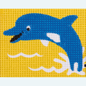 Dolphin - halve kruissteekpakket Vervaco | Handwerkpakket voor kinderen, te borduren op geschilderd stramien, in halve kruissteek  | Artikelnummer: vvc-9578